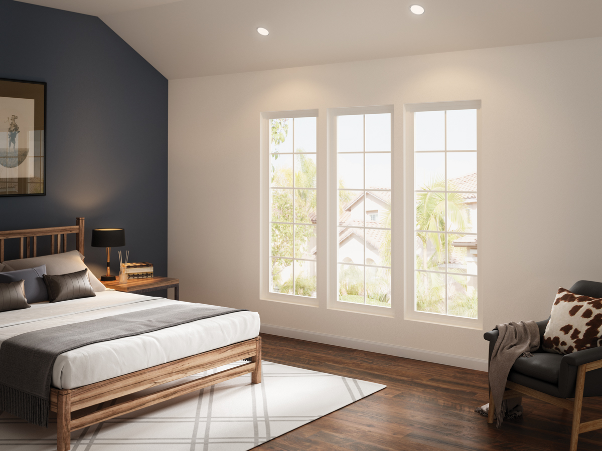 Contemporary vinyl bedroom windows