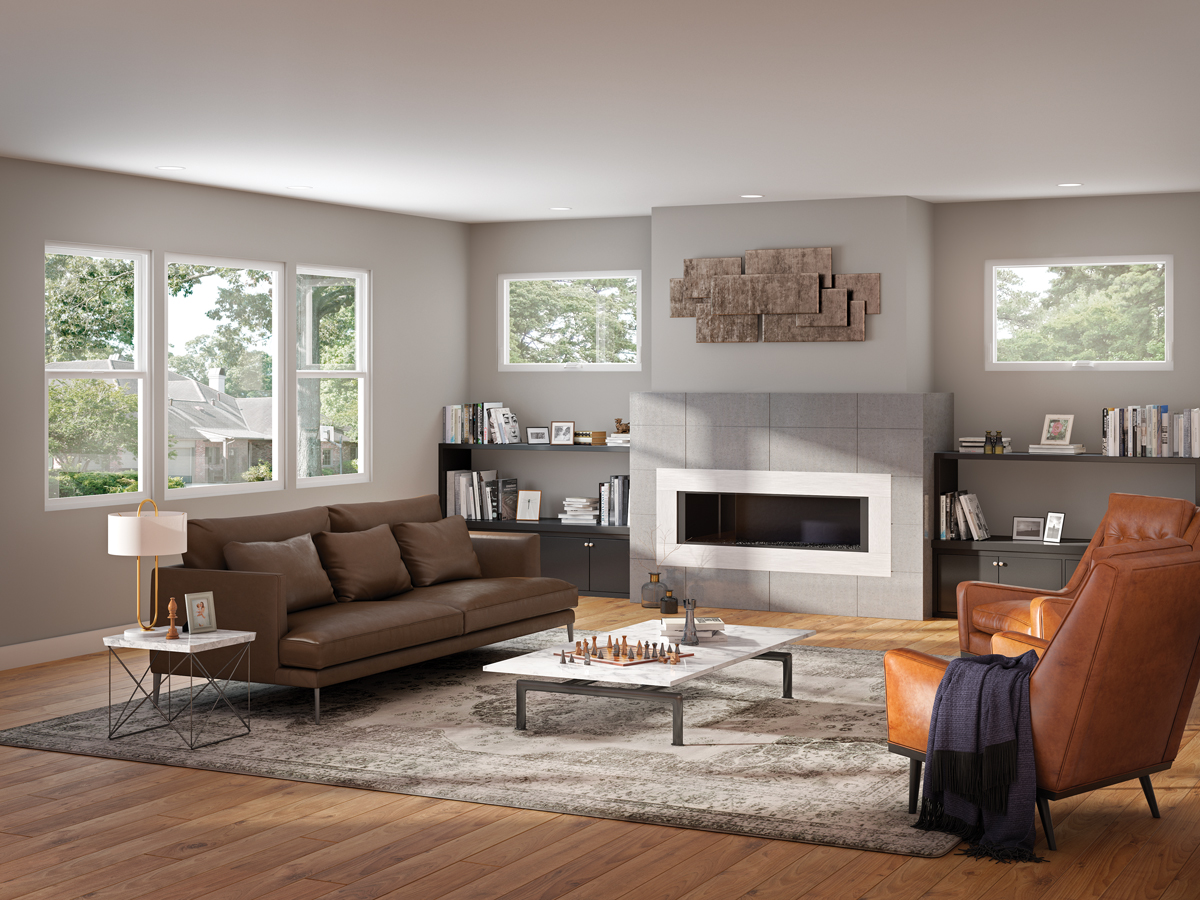 Contemporary vinyl windows in the living room