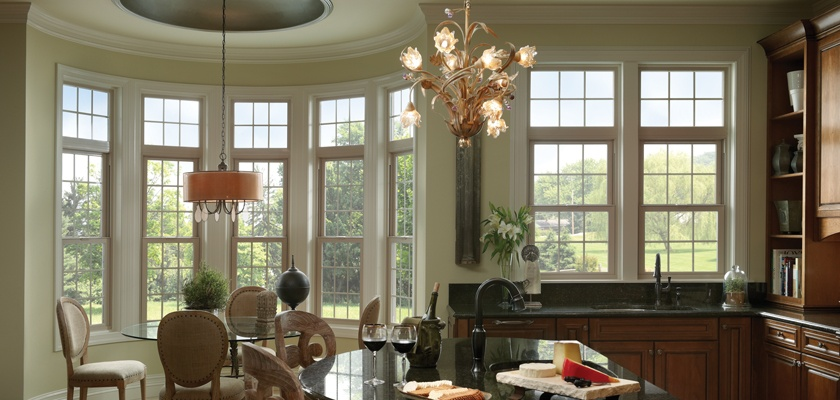 Montecito Series single hung and picture windows in tan