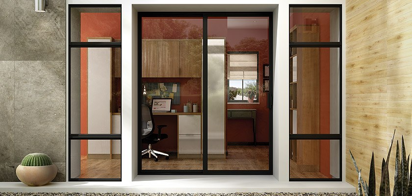 Aluminum Series sliding patio door in bronze anodized