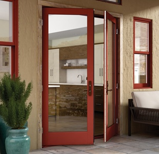 Essence Series wood out-swing patio door in Cinnamon