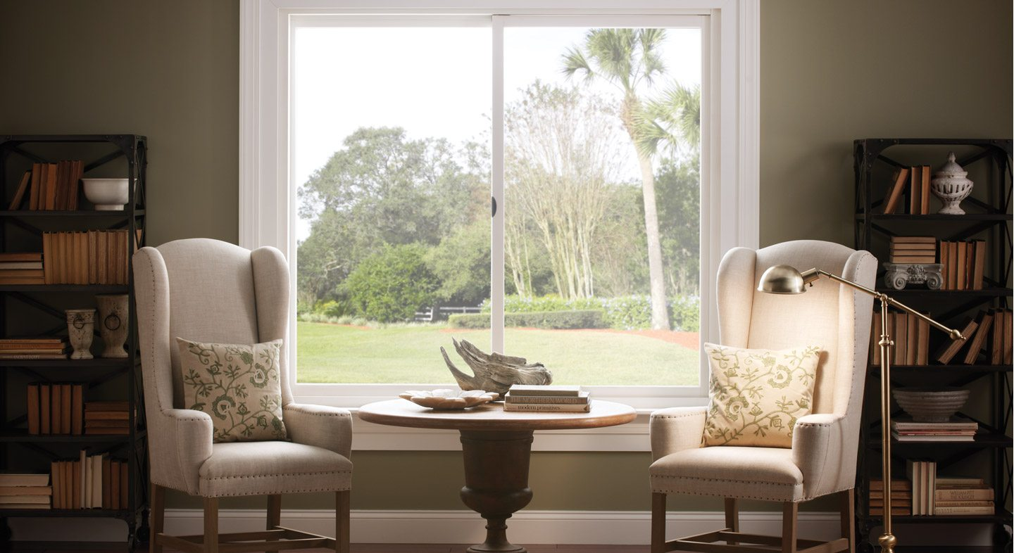 Essence Series horizontal sliding wood windows in primed pine