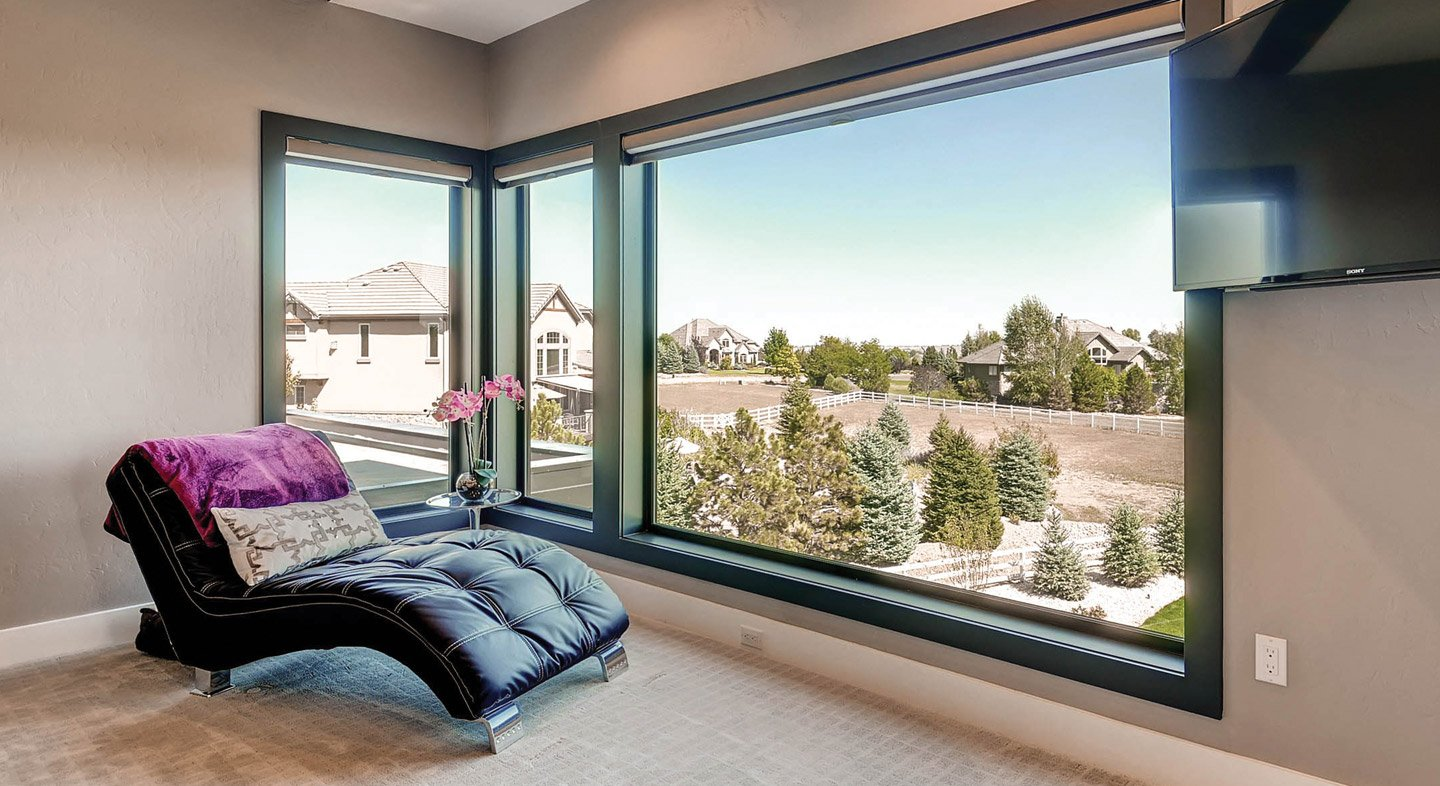 Ultra Series fiberglass picture windows in black bean