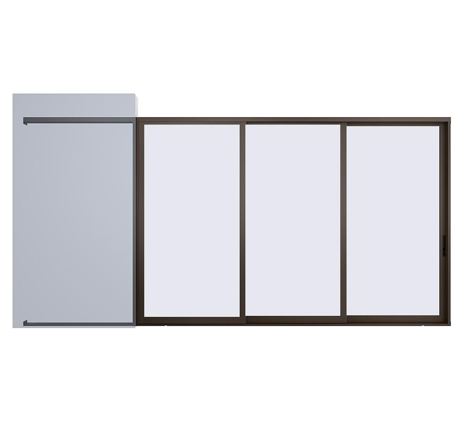 AX550 Pocket Glass Walls in Bronze Anodized