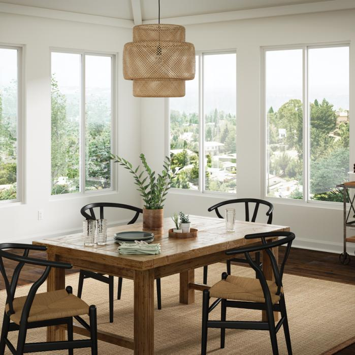 Contemporary vinyl dining room windows