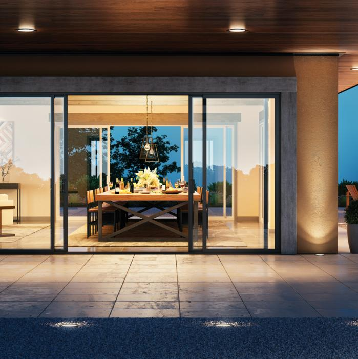 Contemporary sliding black patio door
