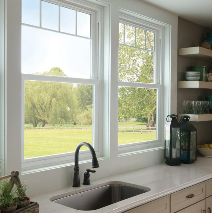 Tuscany Series single hung windows with valance grids