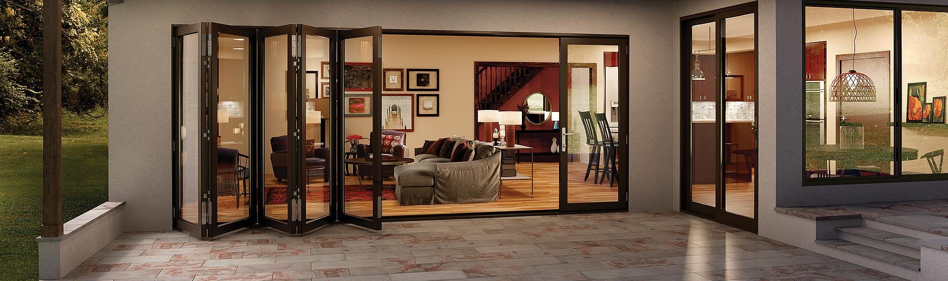Bi fold glass walls aluminum moving glass wall systems for Folding window wall systems