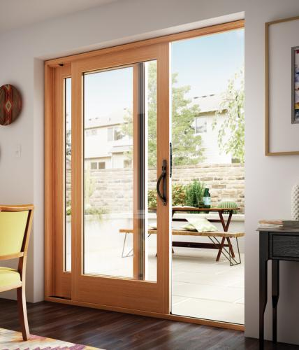 Wood french style sliding glass patio doors essence series milgard essence series wood sliding patio door planetlyrics Image collections