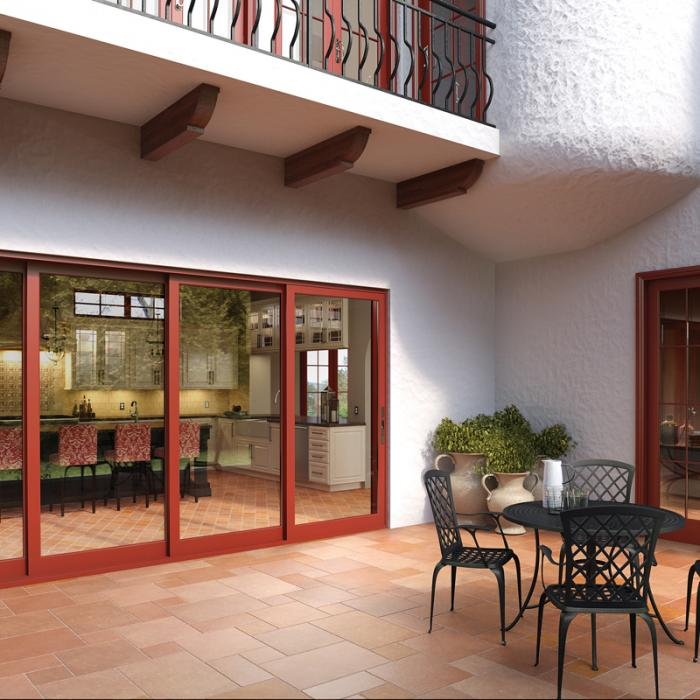A solid-wood interior frame is enveloped with a durable aluminum exterior.  Paint or stain the wood frame to your taste. The aluminum exterior come in  four ... - Pocket Sliding Glass Doors |Aluminum & Aluminum Clad Wood Milgard