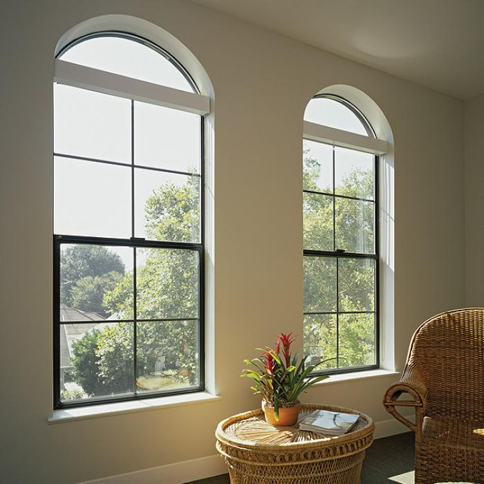 Aluminum Series radius over single hung windows