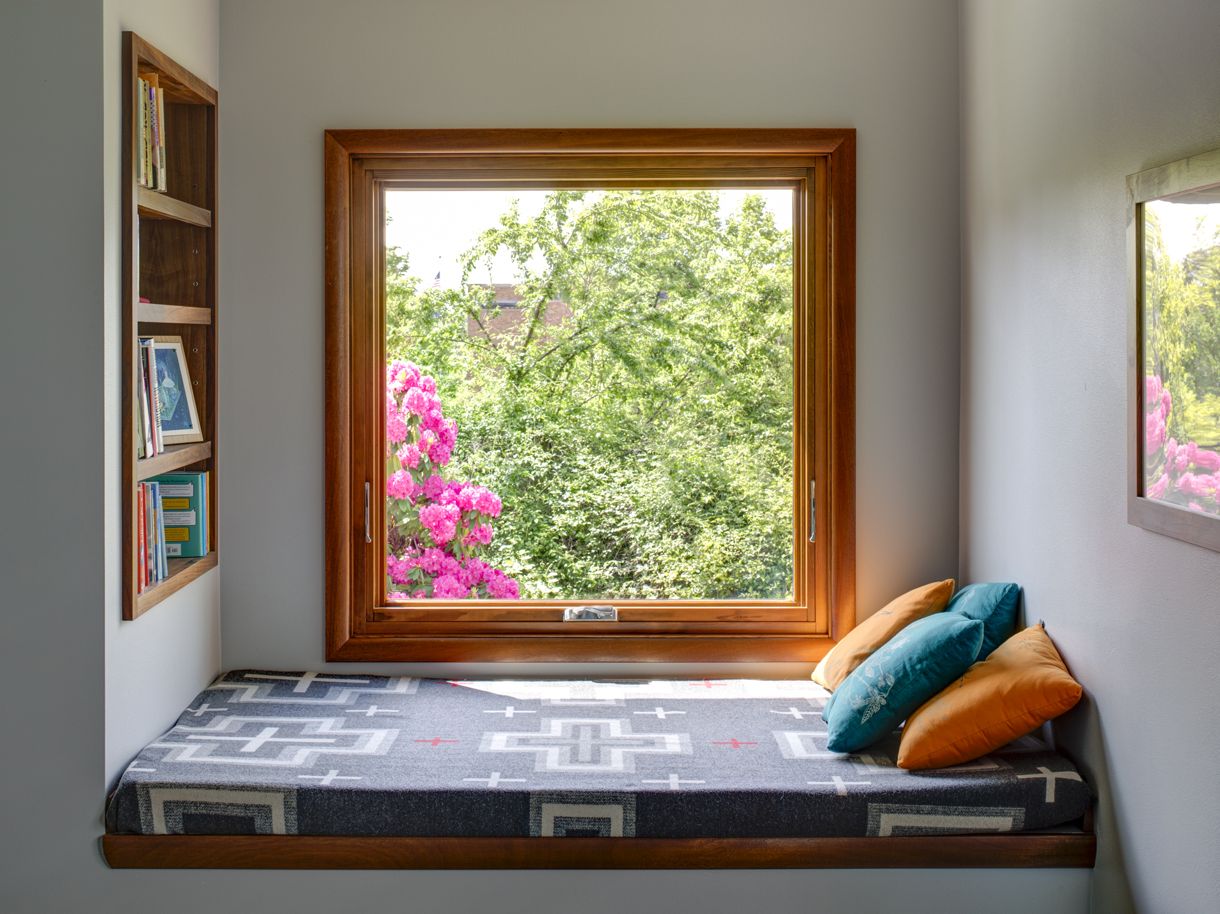 Windowless closet becomes a window seat with a beautiful view