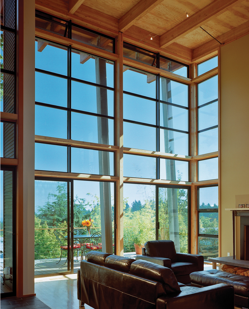 Aluminum windows in combination make a glass wall