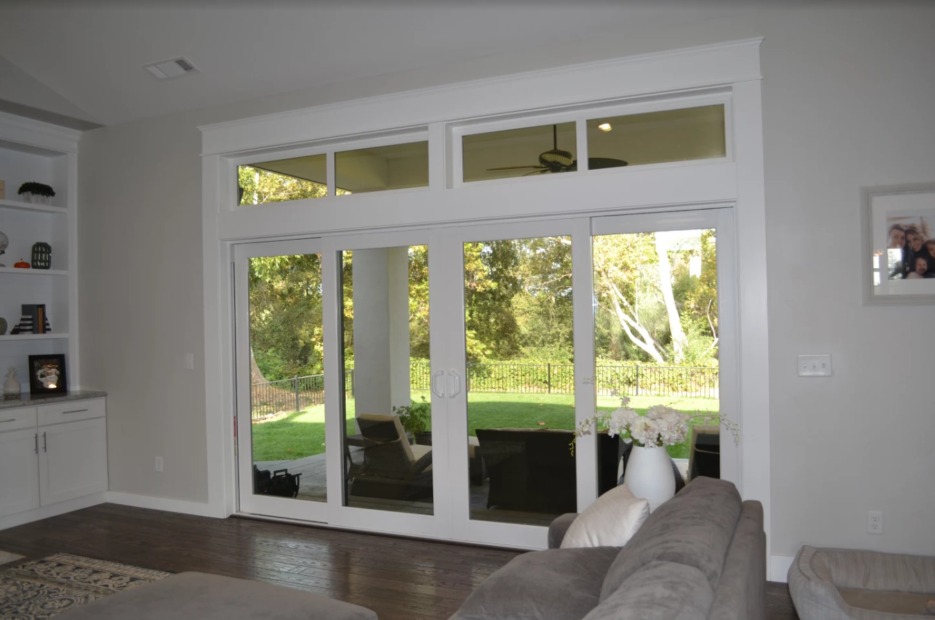 Vinyl sliding French patio doors with transoms