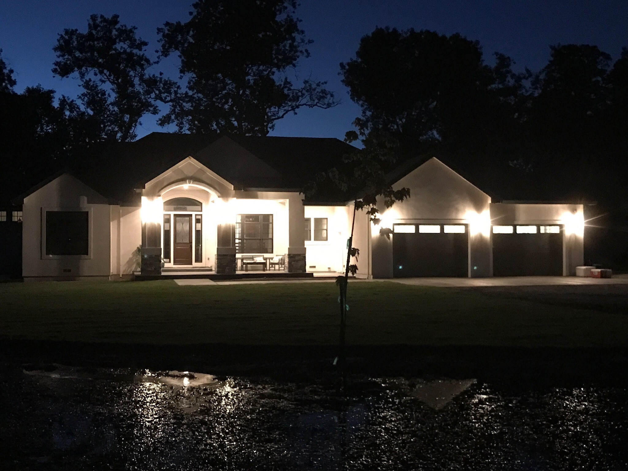 Evening view showing a completed dream home