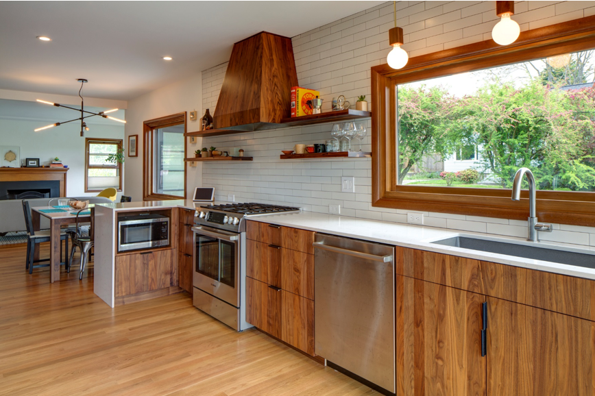 Wood windows provide design inspiration for a contemporary home.