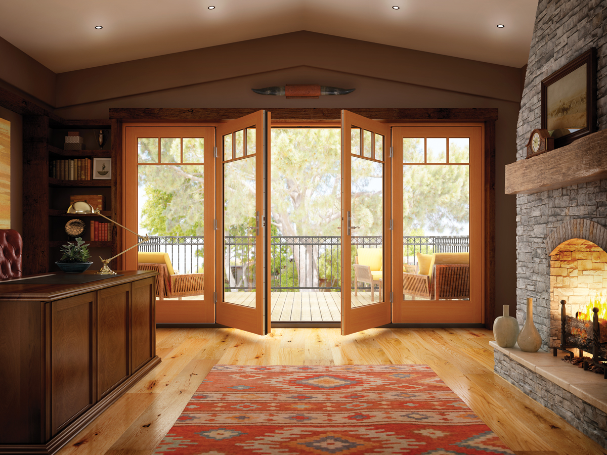 4 panel wood patio door in swinging
