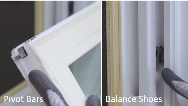Photo showing pivot bars and balance shoes of a double hung window
