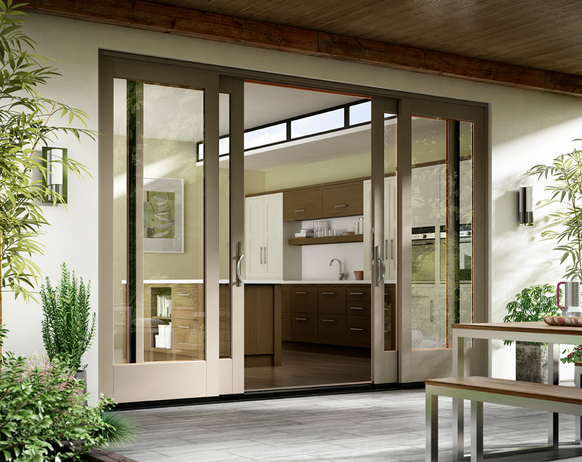 Essence Series wood interior fiberglass exterior patio door