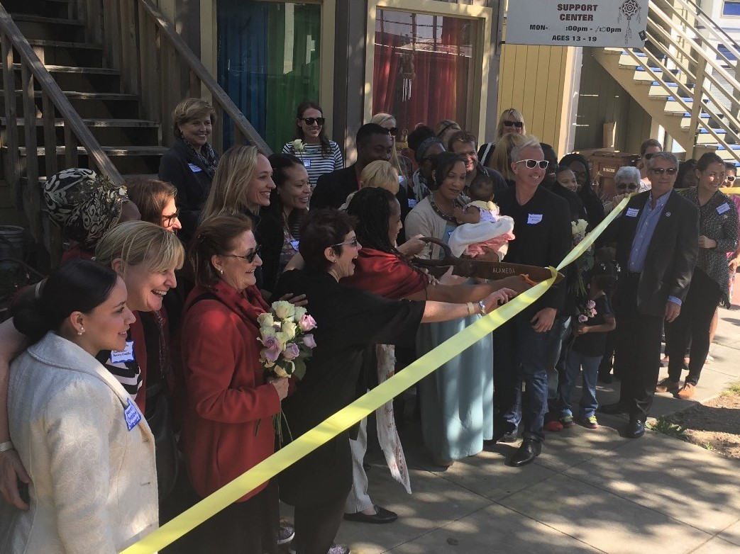 Ribbon cutting ceremony DreamCatcher Nika's Place shelter in Oakland California