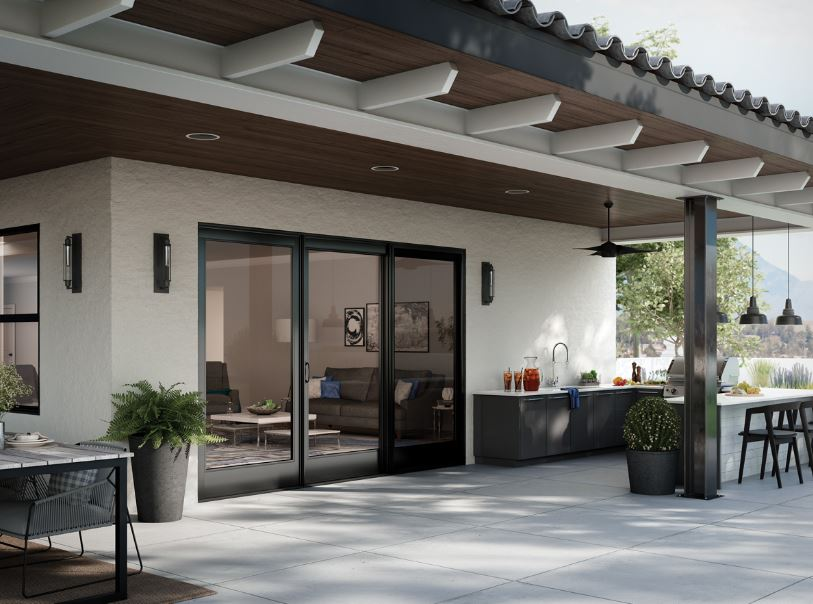 Black framed interior and exterior patio doors