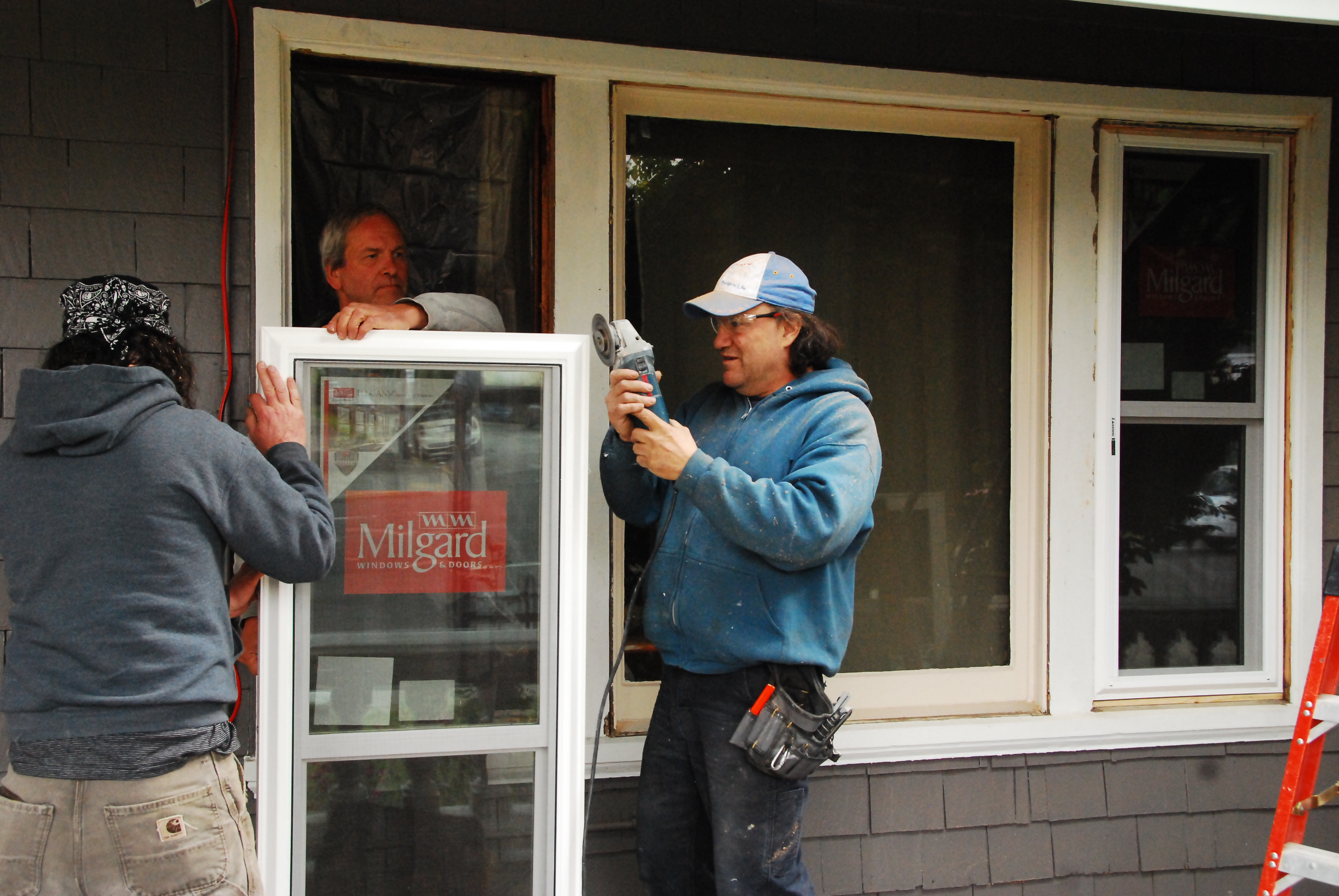 Milgard vinyl windows are installed for energy efficiency