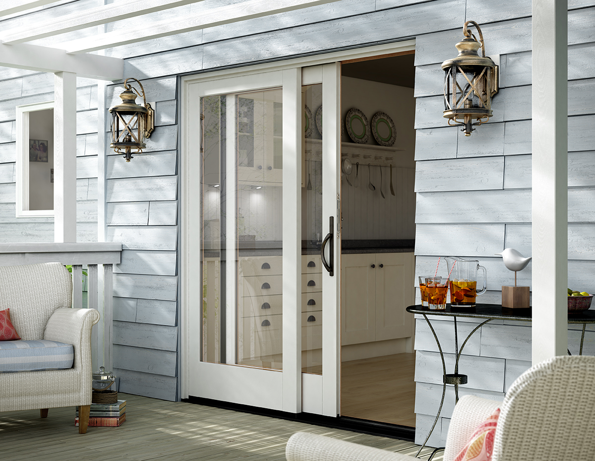 Sliding patio doors vinyl sliding aluminum milgard for Back door sliding door