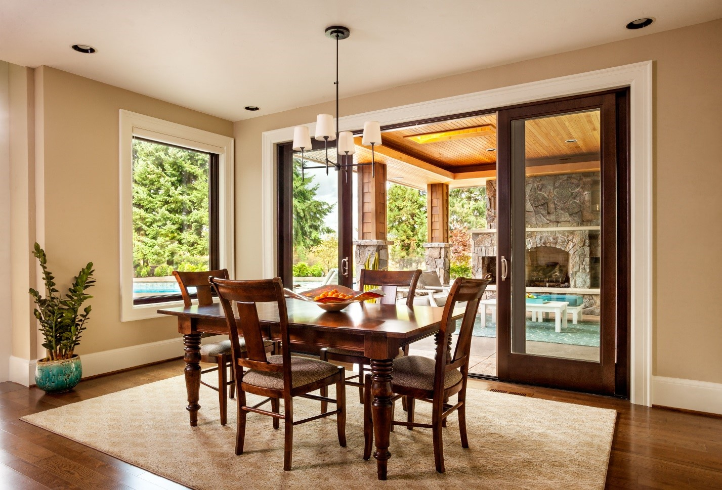 Dining room with french sliding patio doors and window
